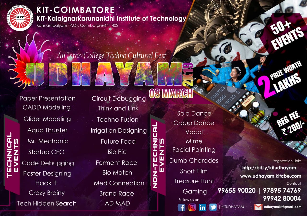 UDHAYAM 2K19-Symposium,Cultural,College Fest,Other-KIT
