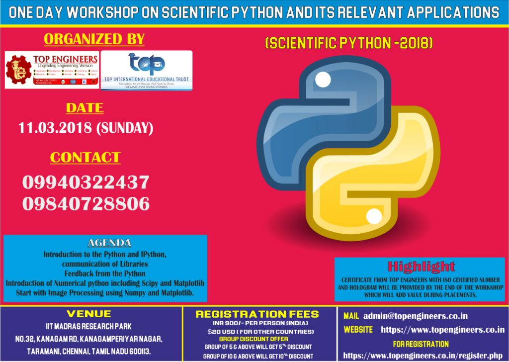 Workshop on Scientific Python and its relevant applications