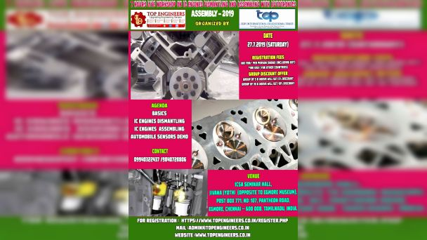 7 HOURS LIVE WORKSHOP ON IC ENGINES DISMANTLING AND ASSEMBLINGWITH AUTOTRONICS ASSEMBLY -2019