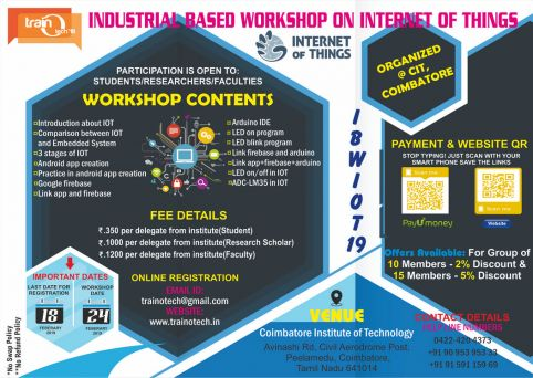 IBWIOT Industrial Based Workshop on Internet of Things 2019