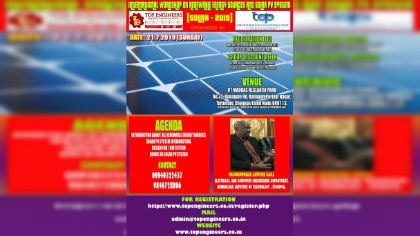 INTERNATIONAL WORKSHOP ON RENEWABLE ENERGY SOURCES AND SOLAR PV SYSTEM SOLAR - 2019