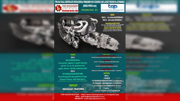 TWO DAY DUAL CERTIFICATE INTENATIONAL WORKSHOP ON IC ENGINES AND LATEST TRENDS IN AUTOMOBILE HORSE POWER - 2019